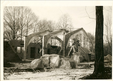 The original church under construction - 1962